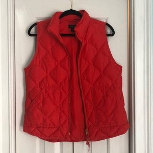 Jcrew quilted orange vest size M